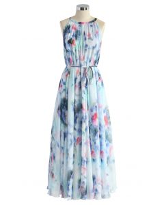 Tranquil Blue Watercolor Floral Maxi Slip Dress