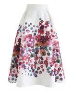 Pinky Floral Print Embossed Midi Skirt