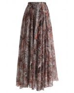 Brown Leopard Print Maxi Skirt