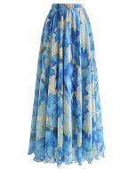 Blue Maple Watercolor Maxi Skirt