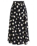 Bicolor Irregular Spots Print Midi Skirt in Black