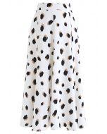 Bicolor Irregular Spots Print Midi Skirt in White