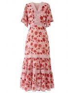 Red Floral Crochet Frilling Chiffon Dress