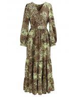 Floral Land Wrap Ruffle Maxi Dress in Tan