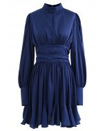 High Neck Puff Sleeves Satin Ruffle Dress in Navy