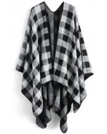 Classic Black Check Blanket Cape