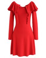 Forever Your Girl Ruffle Knit Dress in Red