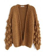 Cuteness on Sleeves Chunky Cardigan in Caramel