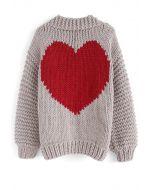 Key to My Heart Hand Knit Chunky Cardigan