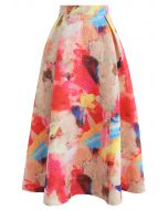 Florid Watercolor Embossed A-Line Skirt